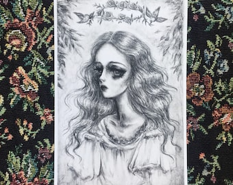 Crowning of a forest queen 4x6 print - zomgelbird - pop surrealism gothic snow white fairy tale illustration