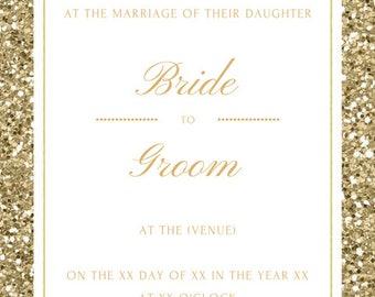 Glitter Glam Wedding Invitation Download