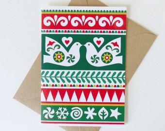 Turtle Doves Christmas Card, Two Turtle Doves Christmas Card, Scandinavian Christmas Card, Folk Art Christmas Card