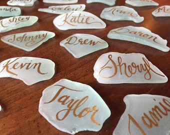 Calligraphy on Sea Glass - Place cards for special occasions