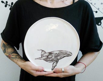 Ceramic Plate The Whale, handmade pottery rustic style