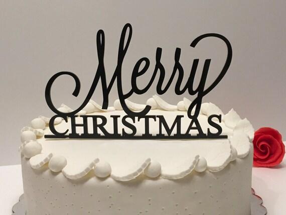 Merry Christmas Cake Topper Xmas decoration Personalized Black Acrylic Cake Topper Xmas Party Picks decor Holiday cake topper Christmas sign