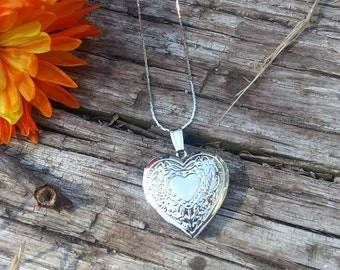 Sterling Silver Heart Locket Necklace Vintage Inspired Fashion Jewelry