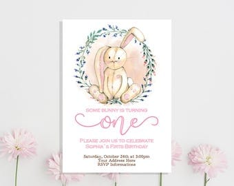 Bunny Birthday Invitation Some Bunny Birthday Invitation Girl First Birthday Bunny Invitation Easter Birthday Spring 1st Birthday Invitation