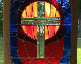 """Inspiring """"THE GOLDEN CROSS"""" Stained Glass Panel Framed in Oak,  29"""" x 41"""", U.S. Artist / Made ~~~ Pick Up Only, Shelby Ohio 44875"""