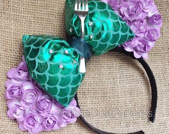Ariel inspired mouse ears, mermaid mouse ears, mermaid floral mouse ears, purple floral mouse ears
