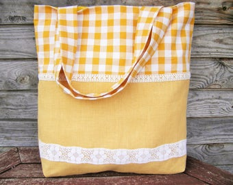 Tote bag, Yellow linen and  cotton bag, Grocery Reusable Bag, Eco-friendly Natural Beach Tote Bag, RE-USED