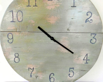 Wooden wall clock recovery, wall clock, Shabby-Green