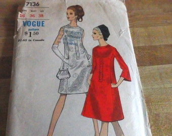 "Gorgeous 60s A-Line dress, Vogue 7136, Bust 36, Size 16, ""Easy to Make"" Pattern, Jackie Kennedy Style, Bell sleeves, Princess Seaming"