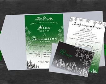 Modern Winter Wedding Invites
