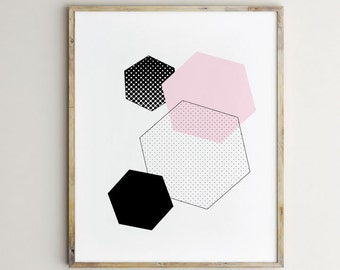 Geometric art, hexagon art, pink and black art, black and white art, modern blocks, polkadots art, nursery art, baby art, modern black art