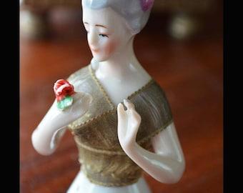 Antique GOEBEL Half Doll, Arms Away Holding Flower Rose 1900-1920s German Edwardian Porcelain With Bouffant - AU – C0010