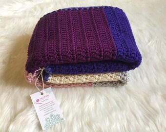 Purple Baby Blanket, Crochet Kids Throw Blanket, Purple Crochet Afghan, Purple Room Decor, Purple Girls Room, Kids Blanket, Toddler Room