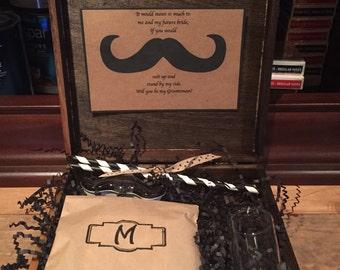 Mustache Will you be my Groomsman/Best Man box