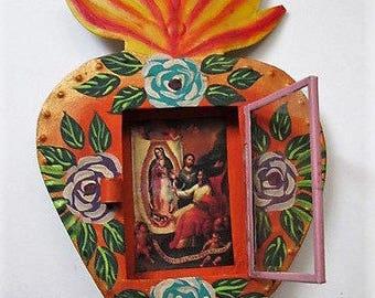 Mexican Tin Nicho//Nicho Frame//Virgin Guadalupe//Mexican Folk Art//Tin Heart Nicho Frame