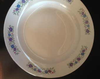 Cmielow Chop Plate/Discontinued CMielow Poland Serving Platter/CMielow CIL29 Blue Pink Flower/CIL29/C Mielow Fine Bone China Platter