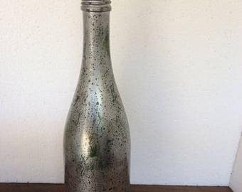 Mercury Glass Wine Bottle with Topper
