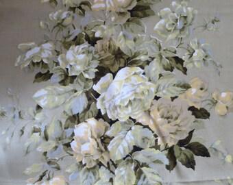 Vintage  Linen Curtain Fabric- Green Rose Bouquets- 128 x 264 cm