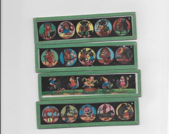 Magic Lantern Slides Glass Colored Vintage*Children Riding Animal*Circus Slides*Animal Slides*Vintage Toys