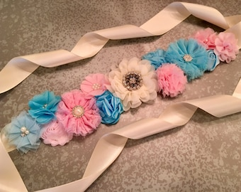 Gender Reveal Sash, Gender Reveal Party, Pink and Blue Sash, flower sash, Maternity Sash, belly sash, twinkle twinkle gender reveal