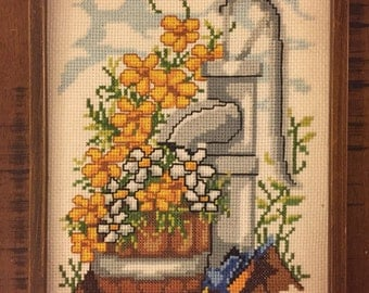 Cross Stitch Water Pump Wall Hanging / 1970's Wall Art