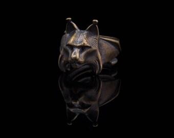 Lynx Head Ring, brass, handmade, adjustable size ..... bobcat ring, lynx ring