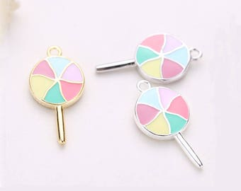 2PCS 925 Sterling Silver Enamel Lollipop Charms,Lollipop Pendant,Colorful Lollipop,Gold Lollipop,Sugar,Food,Sweets,20MM,Necklace For Kids