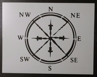 Classic Compass Nautical Face Custom Stencil FAST FREE SHIPPING