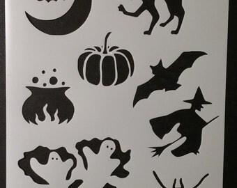 Halloween Bat Cat Pumpkin Witch Custom Stencil FAST FREE SHIPPING