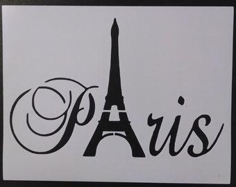 Paris Eiffel Tower Word Custom Stencil FAST FREE SHIPPING