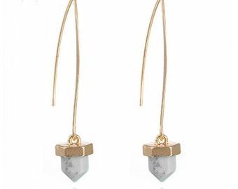 Handmade Gold Marble Dangle Drop Earrings