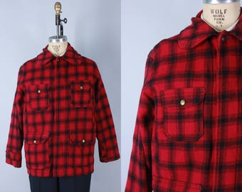 Vintage 1960s Men's Jacket | Red & Black Plaid Wool Jacket with Tons of Pockets | Size 44