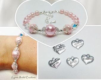 Pink Pearl Bracelet Set of 6 Baby Pink Bridesmaid Set Light Pink Wedding Set Swarovski Elements Crystal Bridal Gift Pretty Wedding Set