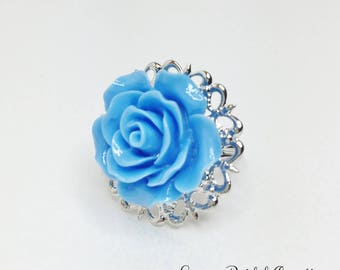 Sky Blue Rose Ring Blue Wedding Party Gift Blue Adjustable Ring Sky Blue Bridesmaid Gift Resin Rose Wedding Jewellery Summer Wedding Gift