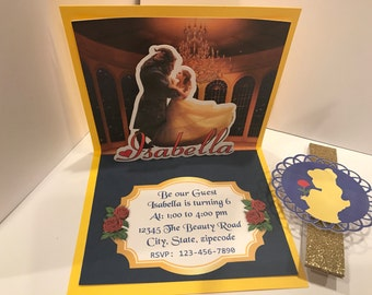 Beauty and the Beast 3D Invitation, pop up invitation, 3D