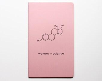 Woman in Science Notebook Journal - Estrogen Hormone - Biochemistry Chemistry Notes Idea Book Lab Book Nerd geek nerdy geeky STEM Scientist