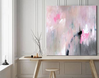 Large original art, minimalist abstract painting, abstract canvas art, pink painting, modern expressionist painting, abstract painting