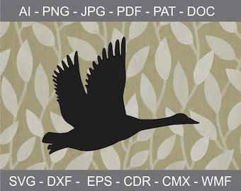 Flying Goose Clipart - svg - ai - dxf - cdr - pat - jpeg -png -pdf -wmf -docx - Iron on Transfer -Vinyl Cutting -Laser Cutting and Engraving