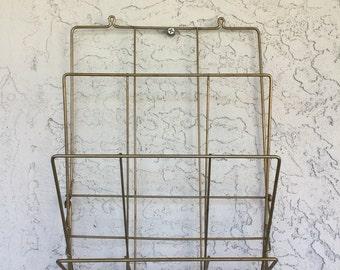 Vintage Magazine Rack, metal rack, mid century modern furniture