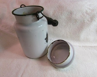 Savory Ware White Enamel Milk Container With Lid