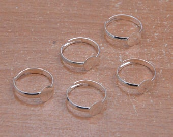 50pcs Silver Rings supply,Shiny Silver Ring Base Adjustable ring with 8mm Round Pad,jewelry making