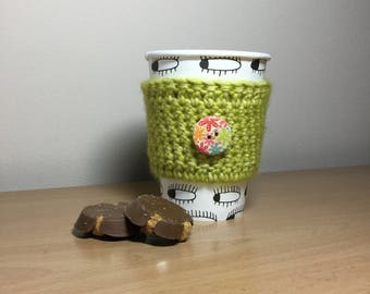 eco friendly green coffee sleeve hot drink cup cozy  coffee lover handmade gift for teacher tea sleeve zero waste coffee accessoir