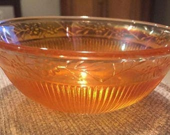 Vintage Marigold Carnival Glass Ribbed Berry Bowl w/ Flowers and Leaves.