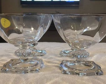 Set of 4 Vintage Heisey Carcassone Clear Champagne Sherbet Glasses. ID# 14-11