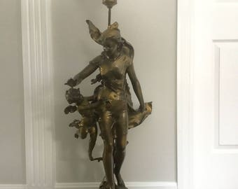 Huge Art Nouveau French Figural Spelter Lady Angel Newel Post Lamp Putti Cherub 42""