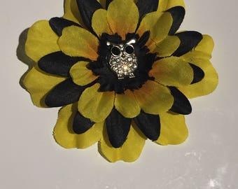 Black & Yellow Owl Hair Clip