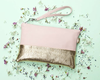 Pink Gold Leather Clutch Purse // Bridesmaid Clutch // Leather Clutch // Metallic Leather Bag // Evening Bag // Wedding Bag