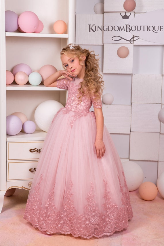 Blush Pink Lace Tulle Flower Girl Dress