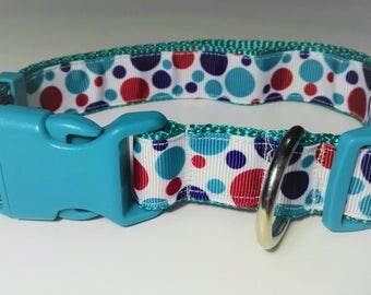 Adjustable Lunares Dog Collar - Blue/Green