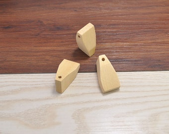 20pcs Facted Wood Bead No Varnish, Natural Polyhedron Faceted Wooden Beads 38x20mm,Unfinished Faceted Wood Beads,Wood Craft